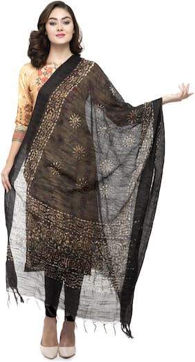 A R SILK Women Cotton Printed Dupatta Black