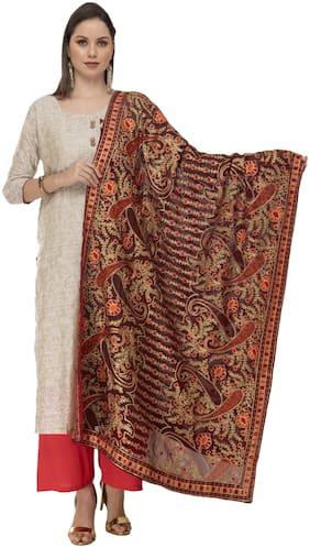 A R Silk Womens Georgette Kashmiri Embroidery Meroon Dark Fancy Dupatta