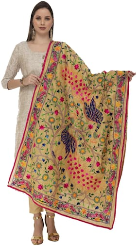 A R Silk Womens Chanderi Thread Work Golden Fancy Dupatta