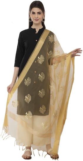 A R Silk Womens Tissue Zari Embroidery Golden Regular Dupatta
