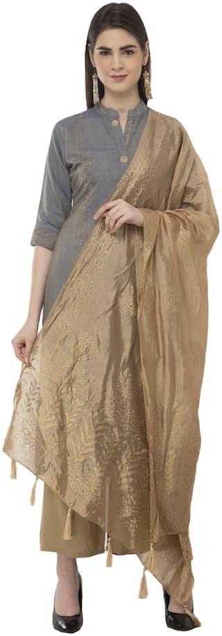 A R Silk Womens Silk Gold Print Golden Regular Dupatta