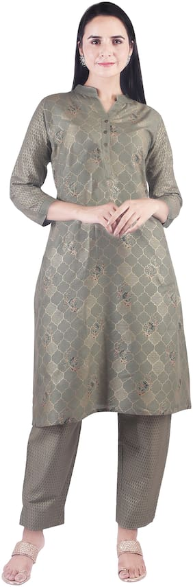 A - TEX INDIA Women Green Floral Straight Kurta With Pants