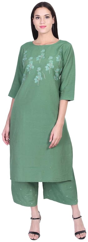 A-TEX INDIA Women Cotton Embroidered Straight Green Kurti with Palazzo