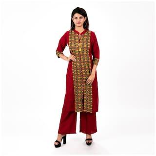 A - TEX INDIA Women Red Printed Straight Kurta With Palazzo
