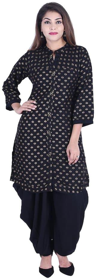 A - TEX INDIA Women Black Printed Straight Kurta With Dhoti Pants
