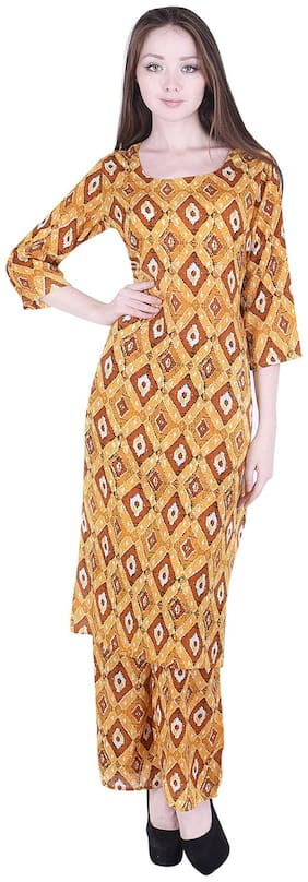 A - TEX INDIA Women Yellow Printed Straight Kurta With Palazzo