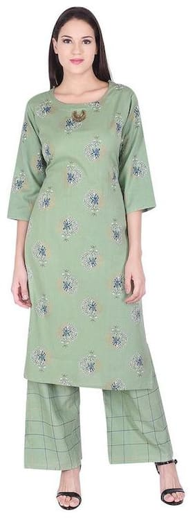 A - TEX INDIA Women Rayon Floral Straight Green Kurti With Palazzo