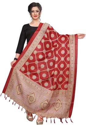 A To Z Cart Khadi Silk Printed Stylelist Dupatta - Red