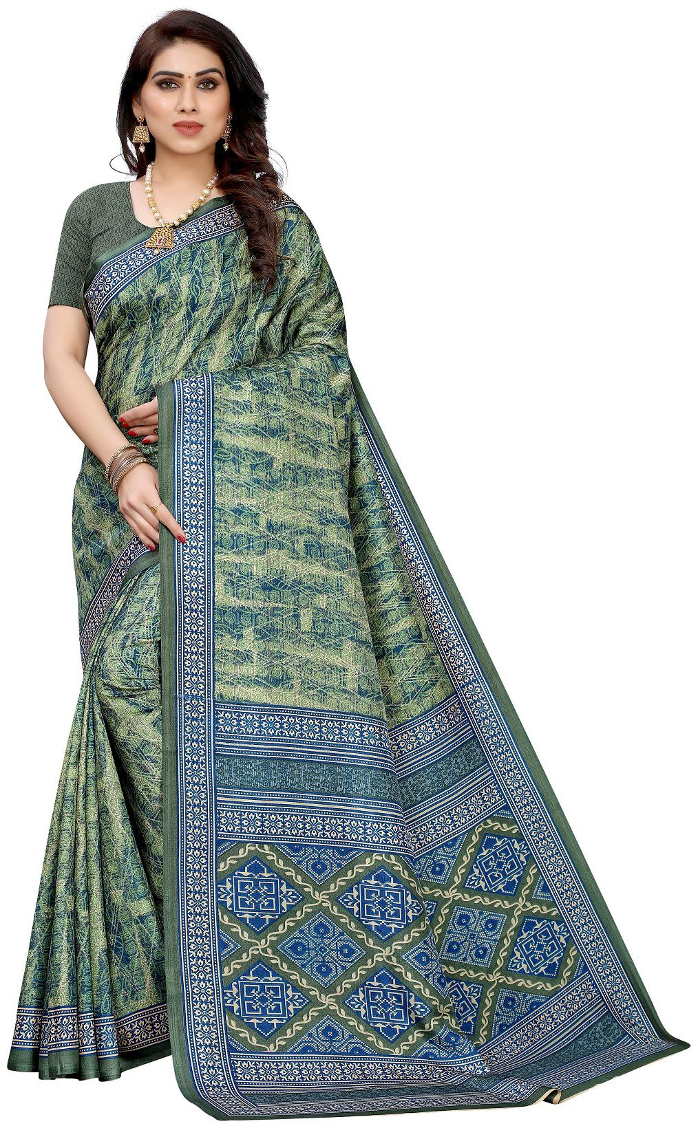 A V Sarees Crepe Printed Multi Saree For Women