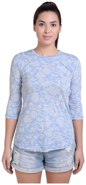 A4S Women Printed Round neck T shirt - Blue