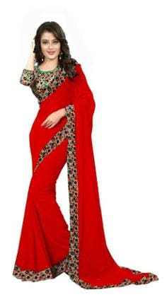 f9f7dbf216df8 Buy Aabha N Alia Latest Design Lace Work Plain Georgette Saree with ...