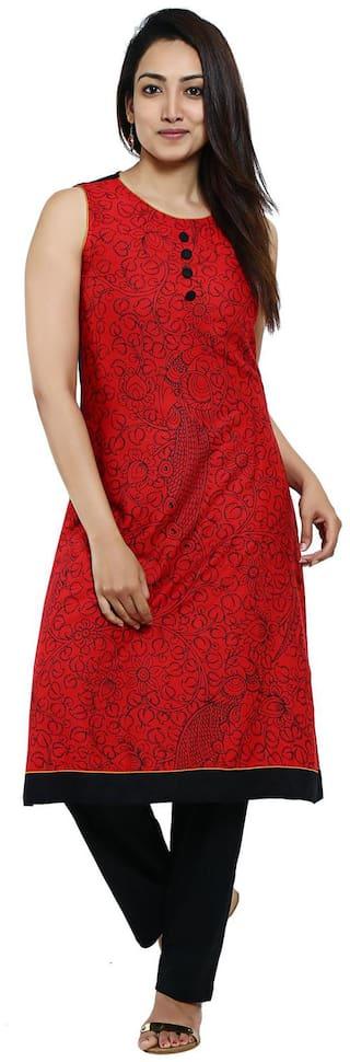 Aaboli Women Rayon Printed A line Kurta - Red