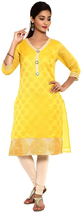 Aaboli Women Silk Printed Straight Kurta - Yellow