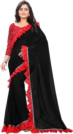 AAENA Black Solid Universal Ruffle Saree With Blouse , With blouse