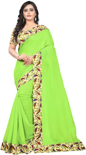 AAENA Cotton Chanderi Lace work Saree - Green , With blouse