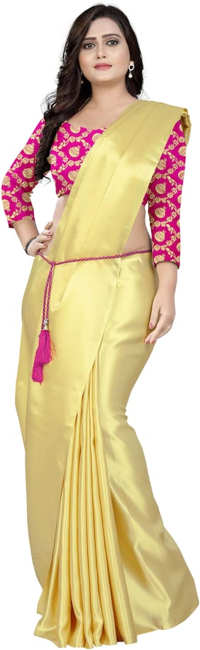 Aaena Women Japan Crepe Silk Saree With Jaquard Blouse Pieces with Belt Yellow