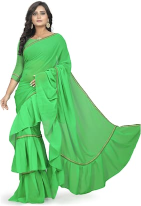 AAENA Georgette Universal Lace work Saree - Green , With blouse