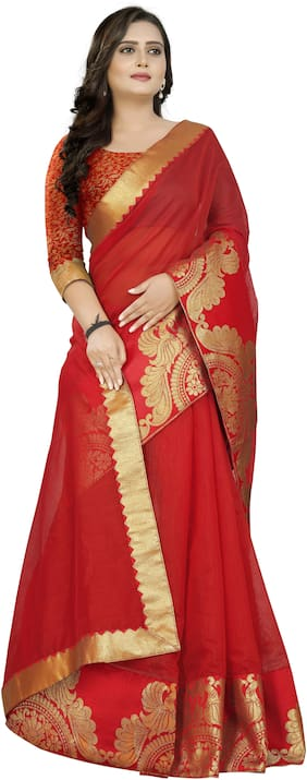 AAENA Red Woven Chanderi Regular Saree With Blouse , With blouse