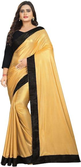 AAENA  Women Lycra Solid Saree Gold