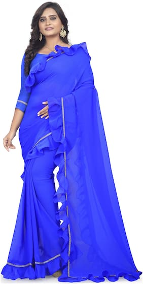 AAENA Georgette Universal Lace work Saree - Blue , With blouse