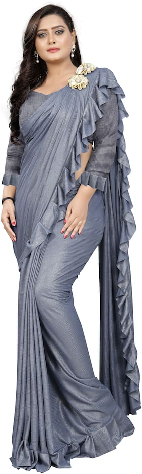 AAENA Grey Solid Bangalori Ruffle Saree With Blouse , With blouse