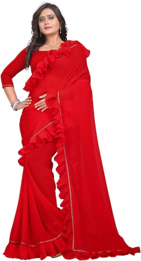 AAENA Georgette Universal Lace work Saree - Red , With blouse