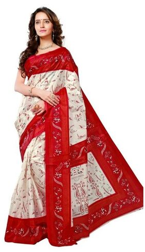 Aagaman Fashion Graceful White Colored Printed Silk Casual Wear Saree Without Blouse