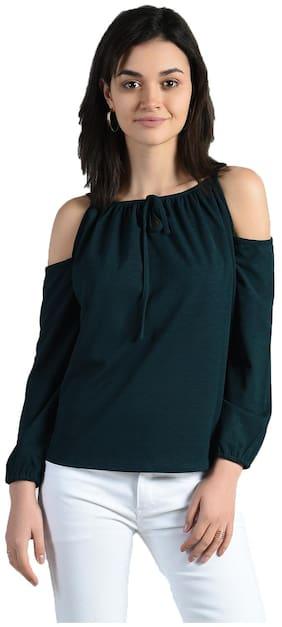 Aara Women Polyester Solid - Regular Top Green