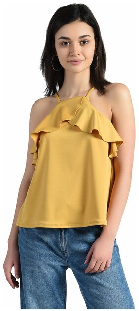 Aara Women Polyester Solid - Regular Top Yellow