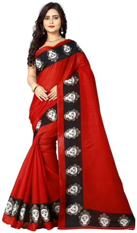 Aaradhya Fashion Women's Bhagalpuri Kalamkari Printed Saree