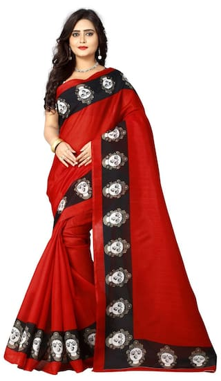 Aaradhya Fashion Cotton Kalamkari Block Print Work Saree - Red
