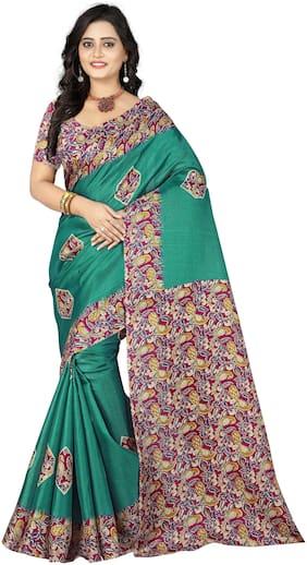 AAENA Silk Khadi Block print work Saree - Green , With blouse
