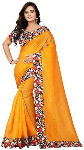 AAENA Yellow Solid Bhagalpuri Designer Saree With Blouse , With blouse