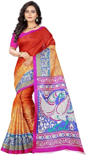 Aaradhya Fashion Women's Khadi Silk Kalamkari Printed Saree( race_orange)