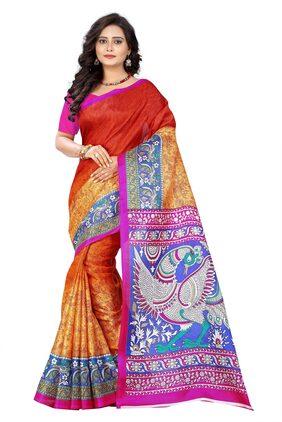 AAENA Silk Khadi Block Print Work Saree - Orange