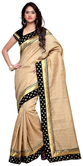 Aaradhya Fashion Beige Universal Designer Saree , With blouse