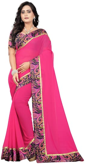 AAENA Georgette Universal Lace work Saree - Pink , With blouse