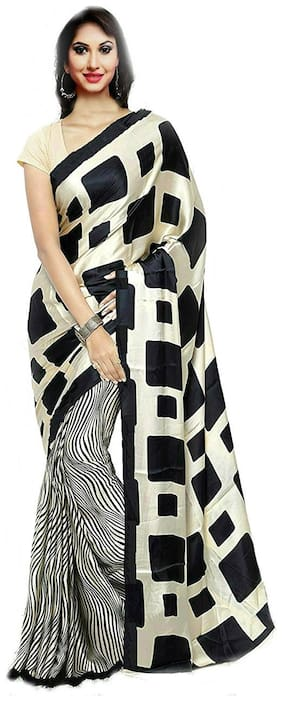 Aaradhya Fashion Women`s Black & Beige Crepe printed Saree (Black-apple)