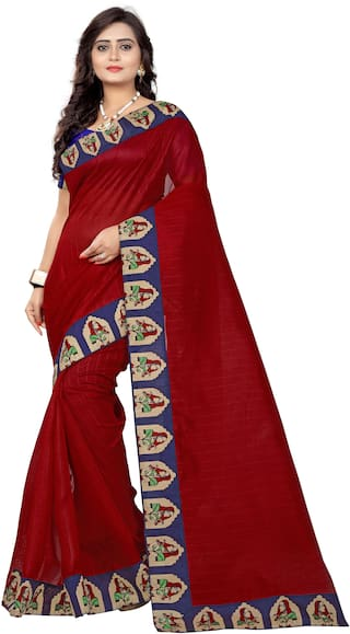 AAENA Cotton Bhagalpuri Block print work Saree - Red , With blouse
