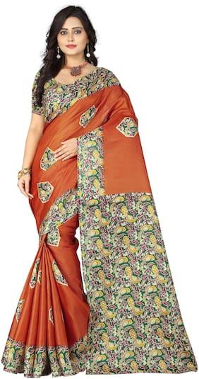 Aaradhya Fashion Women's Khadi Silk Kalamkari Printed Saree( daya_orange)