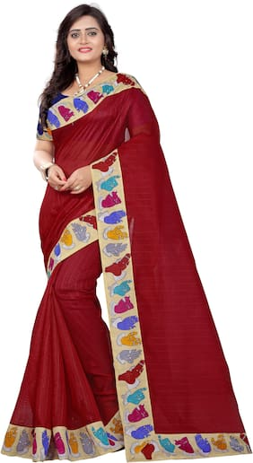 Aaradhya Fashion Women's Bhagalpuri Figure Lace Kalamkari Saree(hand_red)