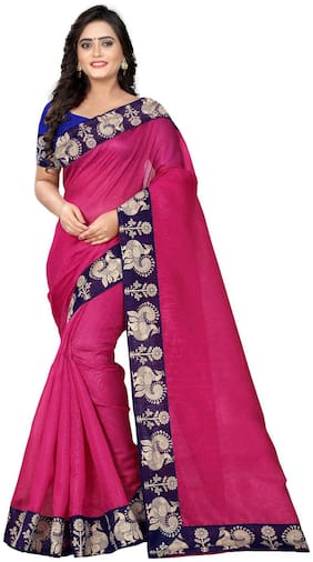 AAENA Pink Solid Bhagalpuri Designer Saree With Blouse , With blouse