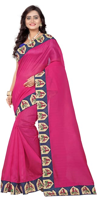 Aaradhya Fashion Women's Bhagalpuri Figure Lace Kalamkari Saree(lady_pink)