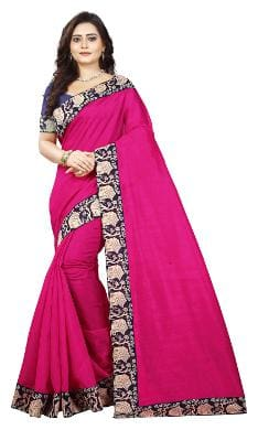 Aaradhya Fashion Women's Bhagalpuri Cotton Kalmkari Saree