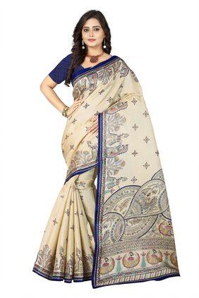 AAENA Silk Khadi Block Print Work Saree - Blue