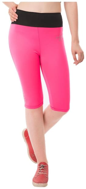 AARMY FIT Women Solid Denim capri - Pink