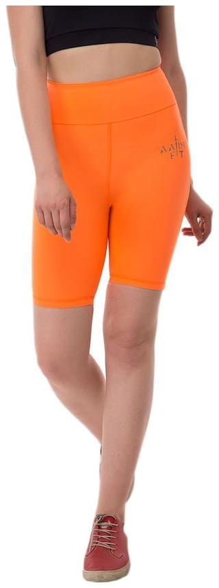 AARMY FIT Women Solid Regular shorts - Orange