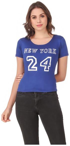 AARYA WORLD Women Lycra Printed Blue T Shirt