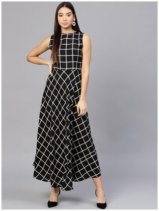 AASI- HOUSE OF NAYO Black Check Sleeveless A-Line Kurti Dress With Slit On The Front