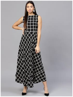 bda1c1dbe7cbe AASI- HOUSE OF NAYO Black Check Sleeveless A-Line Kurti Dress With Slit On